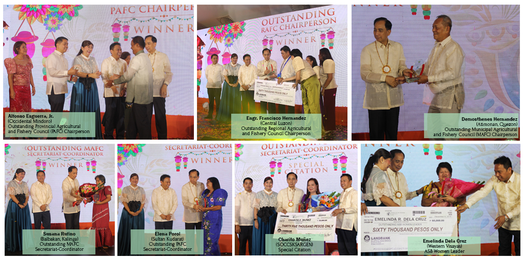 Secretary Dar leads the awarding of the plaque and cheque to the Outstanding AFC Chairpersons, Secretariat-Coordinators, and ASB Women Leader winners. With him are PCAF OIC Executive Director Liza Battad and Usec. for Operations Ariel Cayanan.